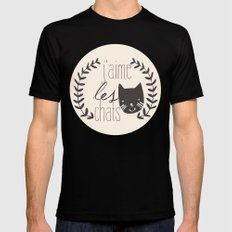 j'aime les chats SMALL Mens Fitted Tee Black