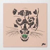 Pointillism Panther Canvas Print