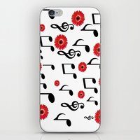 Musical Notes & Red Gerberas iPhone & iPod Skin