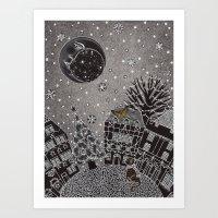 'Twas A Moonlit Winter N… Art Print