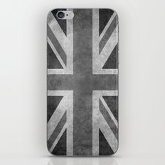 British Union Jack flag scale 1:2 BW retro grunge iPhone & iPod Skin