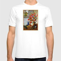 Hungarian Poppies Mens Fitted Tee White SMALL