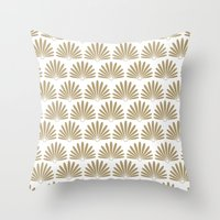 White & Tan Daisies Throw Pillow