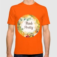 Think Pretty Mens Fitted Tee Orange SMALL