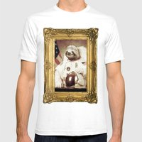 Sloth Astronaut Mens Fitted Tee White SMALL