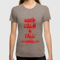 Keep Calm And Call Daryl… Womens Fitted Tee Tri-Coffee SMALL