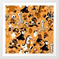 Monster March (Orange) Art Print