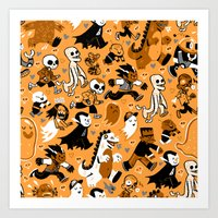 Monster March (Orange) Art Print