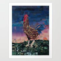 Paper Rooster Art Print