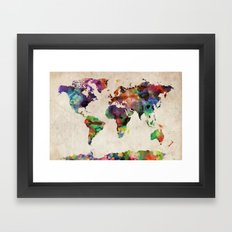World Map Urban Watercolor Framed Art Print
