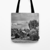 Down on the Farm Black and White Tote Bag