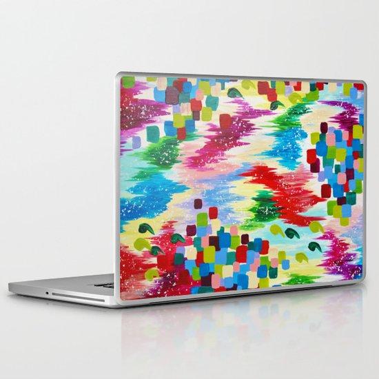 'TIS THE SEASON - Cheerful Christmas Seasonal Holidays Abstract Acrylic Painting Chevron Snow  Laptop & iPad Skin