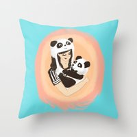 Panda & Jess Throw Pillow