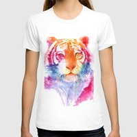 Rainbow Stripes Womens Fitted Tee White SMALL
