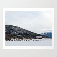 Elk And Barn I  Art Print