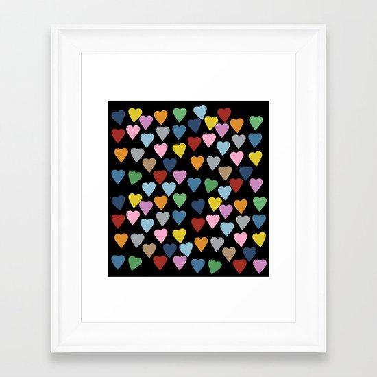 Hearts #3 Black Framed Art Print