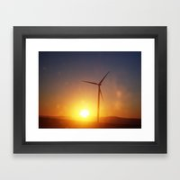Windmill Sunset Framed Art Print