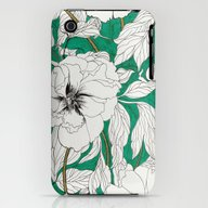 Green Peonies iPhone (3g, 3gs) Slim Case