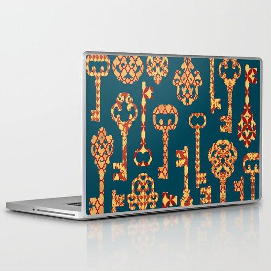 Yellow and Red Skeleton Key Pattern Laptop & iPad Skin