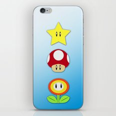 Super Mario Bros Star, Mushroom and Flower iPhone & iPod Skin