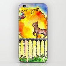 Cat and Butterfly iPhone & iPod Skin