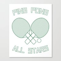 Ping Pong All Stars (Green) Canvas Print