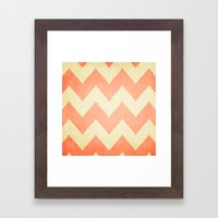 Fuzzy Navel - Peach Chevron Framed Art Print