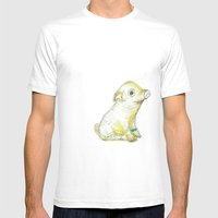 Pig Illustration Mens Fitted Tee White SMALL