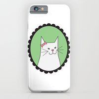 iPhone & iPod Case featuring White Kitty by madeline audrey