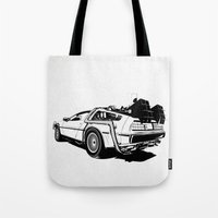 DeLorean / BW Tote Bag