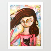 The Black Cat Princess Art Print