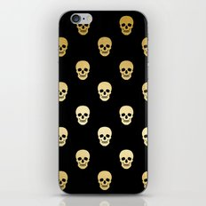 Gold Skull on black iPhone & iPod Skin