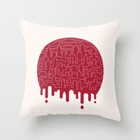 Painted Red Throw Pillow