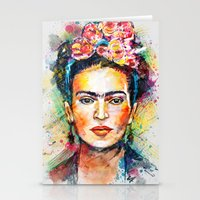 woman Stationery Cards featuring Frida Kahlo by Tracie Andrews