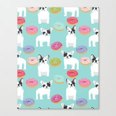 French Bulldog cute mint pastel cute donuts sweet treat doughnuts junk food dessert foods and dogs Canvas Print