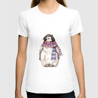 Baby Penguin in Red and Blue Scarf. Winter Season Womens Fitted Tee White SMALL