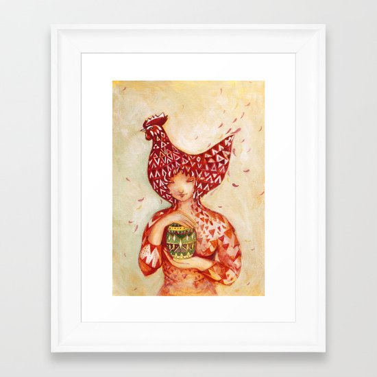 chicken or the egg? Framed Art Print