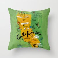 Postcard from California Throw Pillow