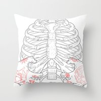 Human ribs cage Throw Pillow