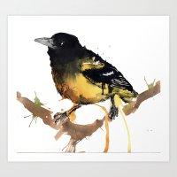Black And Yellow Art Print