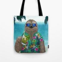 Sloth on summer holidays drinking a mojito Tote Bag