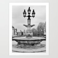 Fountain B&W Art Print