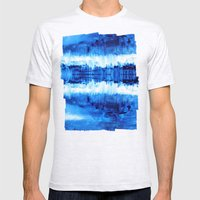 Blue Abstract Mens Fitted Tee Ash Grey SMALL