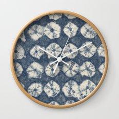 Indigo Spiderweb Shibori Wall Clock