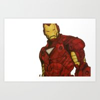 iron man Art Prints featuring Iron Man by DeMoose_Art