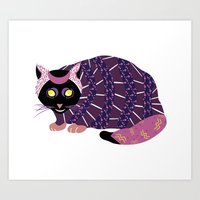Abstract Cat [BLACK] Art Print