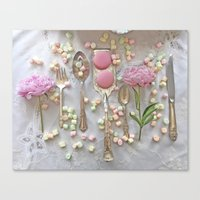 Shabby Chic Peonies Macarons and Vintage Spoon Kitchen Art Canvas Print