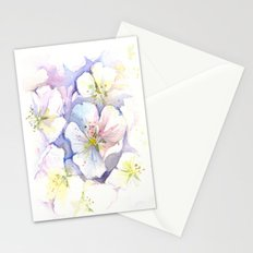 Cherry Blossoms Abstract Painting   Floral Watercolor Stationery Cards