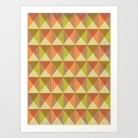 Triangle Diamond Grid Art Print