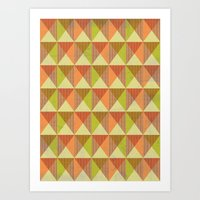 Triangle Diamond Grid Art Print